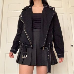 Black Jacket with White Stitching and Belt